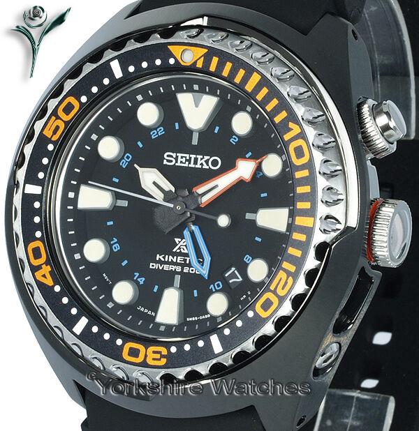 New SEIKO PROSPEX KINETIC GMT PRO DIVERS WITH SILICONE BUCKLE STRAP SUN023P1