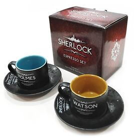 *NEW* collectable boxed Sherlock espresso set, 2 cups & saucers, Christmas gift