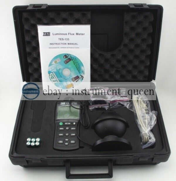 TES-133 Luminous Flux Meter,Auto ranging from 0.05 to 7000 lumens TES133