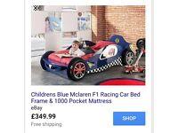 Boys blue McLaren f1 racing car bed