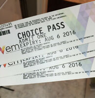 3 WEM Choice Passes (expiry August 6, 2016)