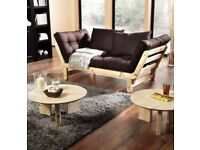 Solid wood futon sofa bed - two seater