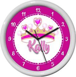 Personalized Pink Princess Wall Clock Girl Nursery Decor Shower Gift