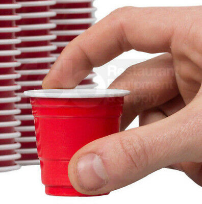 Yard Plastic Drinking Glass (1000 CASE Mini Red Plastic Shot Glass 2 Oz Party Drink Cold Solo Shooter Cup)