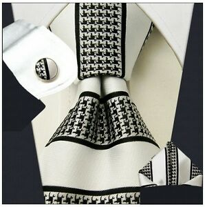 T619 Stripes White Black Tie Set 100% Silk Mens Necktie Ties+Cuffs+Pocket Square