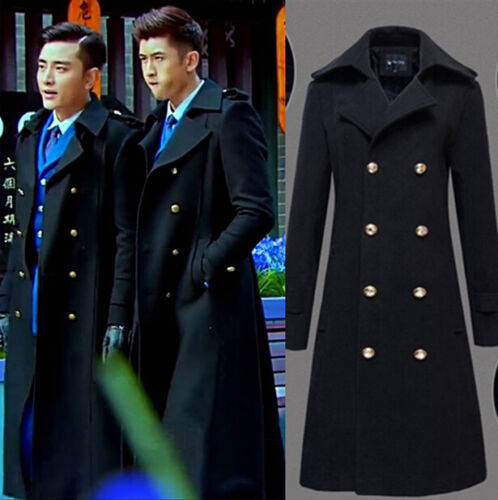 Mens Winter Warmer Trench Jackets Coat Double Breasted Overcoat Formal Outwear