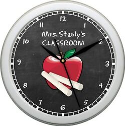 Personalized Teacher Classroom 10.75 Wall Clock Grade School Teacher Gift
