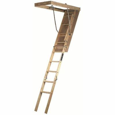Attic Ladder Pull Down Stairs Folding Steps Loft Door Hatch Handrail Wood Access Fold Down Door