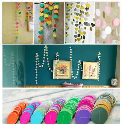 Hanging Paper Garlands Flora Chain Wedding Party Decoration Round Heart Shape