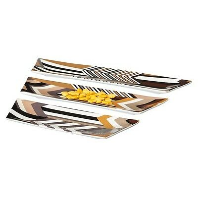 Missoni For Target Stripe Puzzle Tray Set Of 3 Stoneware Chevron Zig Zag Brown