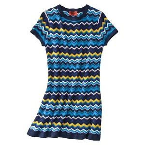 NEW-AUTHENTIC-Missoni-Target-Knit-Sweater-Dress-fully-Lined-Via-BLUE-HOT