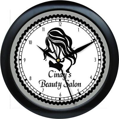 Hair Salon Personalized Wall Clock Gift  Pink, Gray,Teal Background Colors Gift
