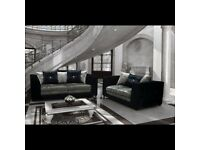 3 + 2 & Corner Seaters in Bella Crush Velvet Sofa with free matching footstool & free delivery.