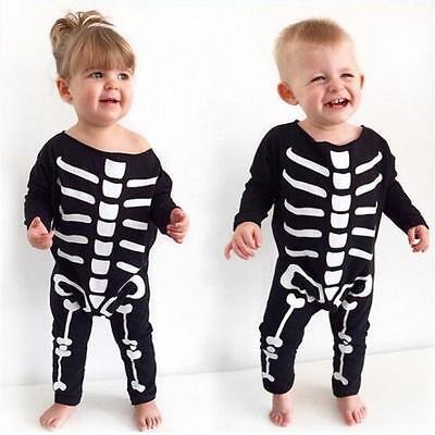 Baby Girls Boys Halloween Costume Skeleton Romper Jumpsuit Bodysuit Cotton - Baby Boys Halloween Costume