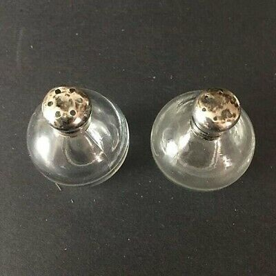 Frank M Whiting Small Sterling Silver Bottles Antique 1900s Victorian Home Decoration Etched Glass Salt And Pepper Vintage Shakers Set