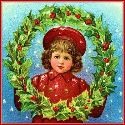 30 Custom Victorian Christmas Girl Personalized Address Labels