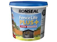 Ronseal Fence life plus Charcoal grey Matt Fence & shed Paint 5L ~ Only 2 for £27.99 or £14.99ea