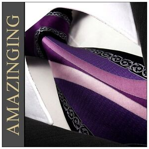 S59 Pattern Purple Black Silver Pink Mens Necktie Ties 100% Silk Printed