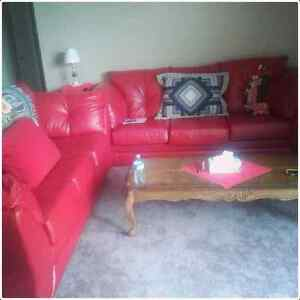 Red faux leather sofa bed London Ontario image 2