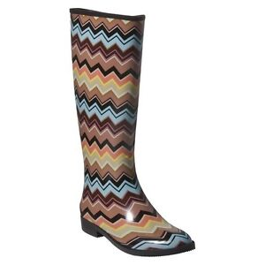 MISSONI for TARGET ZIG ZAG TALL Size 7 RAIN BOOTS Multi Color RainBoots NIB New!