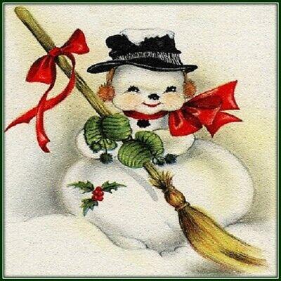 30 Custom Classic Snowman Art Personalized Address Labels
