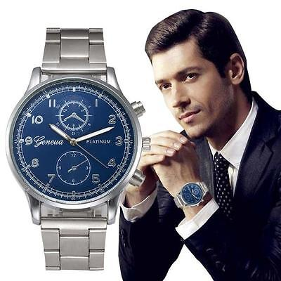 Men watch Fashion Crystal Stainless Steel Watch Quartz Bracelet Hot Wrist Watch