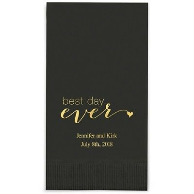 400 Best Day Ever Script Printed Rectangular Fold Wedding Dinner