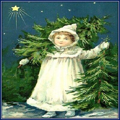 30 Custom Christmas Tree Girl Personalized Address Labels