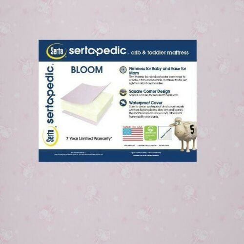 """Serta Sertapedic Bloom 5"""" Crib and Toddler Mattress Lightweight Waterproof pink"""