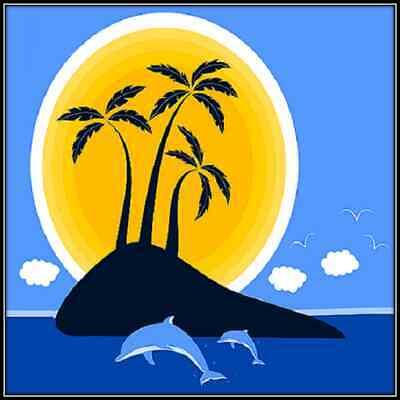 30 Custom Tropical Island Art Personalized Address Labels