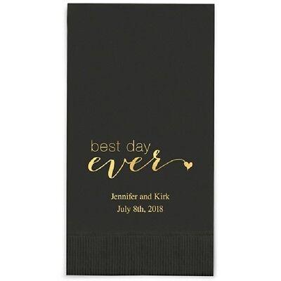 240 Best Day Ever Script Printed Rectangular Fold Wedding Dinner