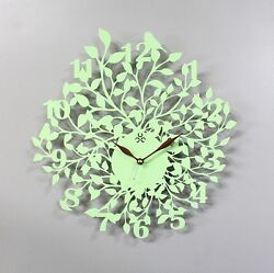 Tree Leaf Large Wall Clock Modern Steel Home Decor Clock Art Unique Design Mint