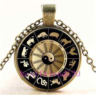 Vintage Chinese Zodiac Chart Cabochon Glass Bronze Chain Pendant Necklace