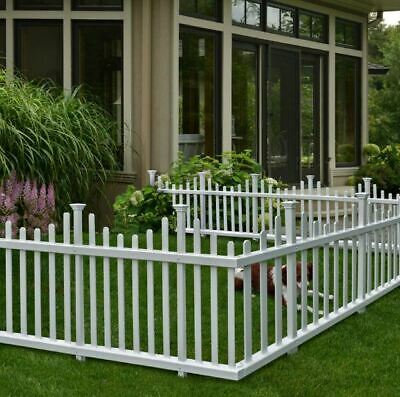 Picket Fence Panel Kit Decorative Garden Barrier Child Pet Dog Post Divider - Picket Fence Decor