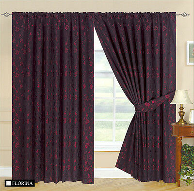 Burgundy And Black Curtains.Details About Fully Lined 2 Tone Black Burgundy Sheen Designer Jacquard Curtains Tie Backs
