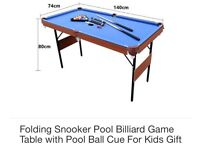 6ft foldaway pool & snooker table and accessories.