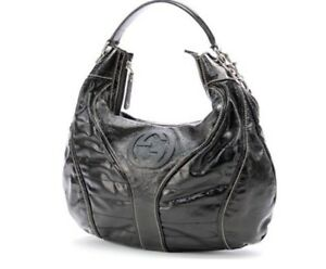 Authentic GUCCI black patent leather GLAM SNOW HOBO 700$ OBO