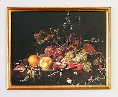 Abraham Mignon Stilleben mit Früchten 1668 deutscher Maler 7H Faks im Goldrahmen