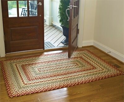 Mill Village Rectangle Braided Area Rug 4' x 6' By Park Designs. Red Green Cream ()