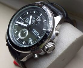 Fossil Watch c2011 large size Fossil CHRONOGRAPH Black Dial Date Decker CH2573 Quartz Watch