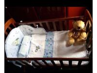 Baby crib with space dreamer bedding and bumper set