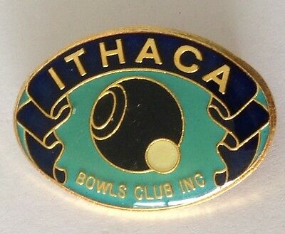 Ithaca Bowling Club Inc Badge Pin Rare Lawn Bowls (L15) ()