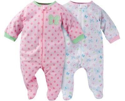 GERBER BABY GIRLS 2-Piece Sleep 'N Plays Zippered Baby Shower Gift - - Sleep Girls