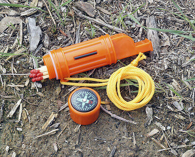 Compass Safety Whistle Survival Tool Mirror Hiking Storage Fishing Flint Lanyard, used for sale  Shipping to India
