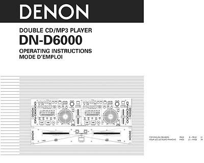 Denon DN-D6000 CD Player Owners Instruction Manual