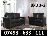 UNO 3+2 LEATHER SOFA COUCH BLACK OR BROWN
