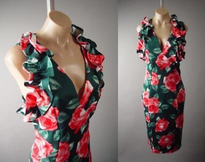 Dark Green Rose Floral Pattern Ruffle Neck Garden Tea Party Pencil 287 mv - Rose Ruffle Dress