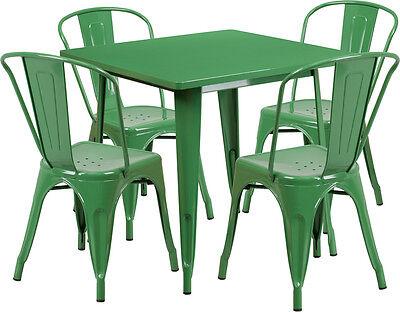 31.5 Industrial Green Metal Indoor-outdoor Restaurant Table Set W4 Chairs