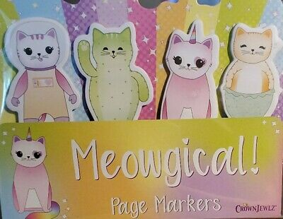 Meowgical Cat Page Markers 100 Sticky Tabs 4 Designs By Crownjewlz Free Ship