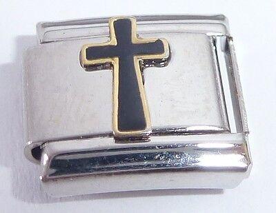 - BLACK CROSS Italian Charm Faith Religious 9mm fits Classic Starter Bracelets E22